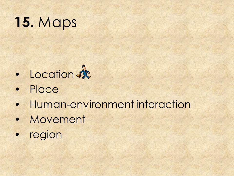15. Maps Location Place Human-environment interaction Movement region