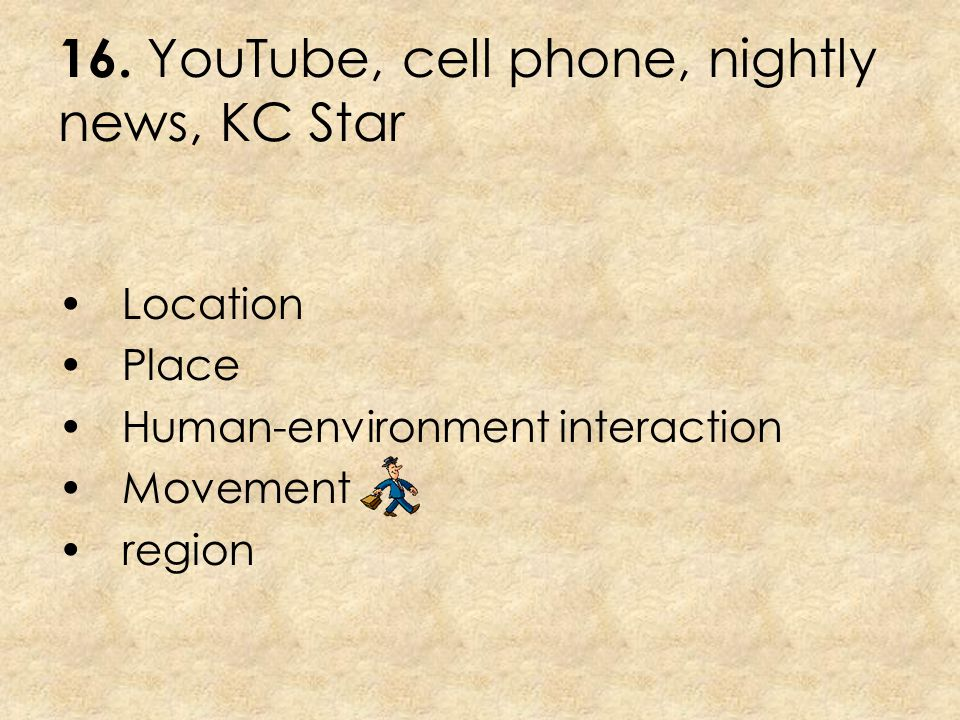 16. YouTube, cell phone, nightly news, KC Star