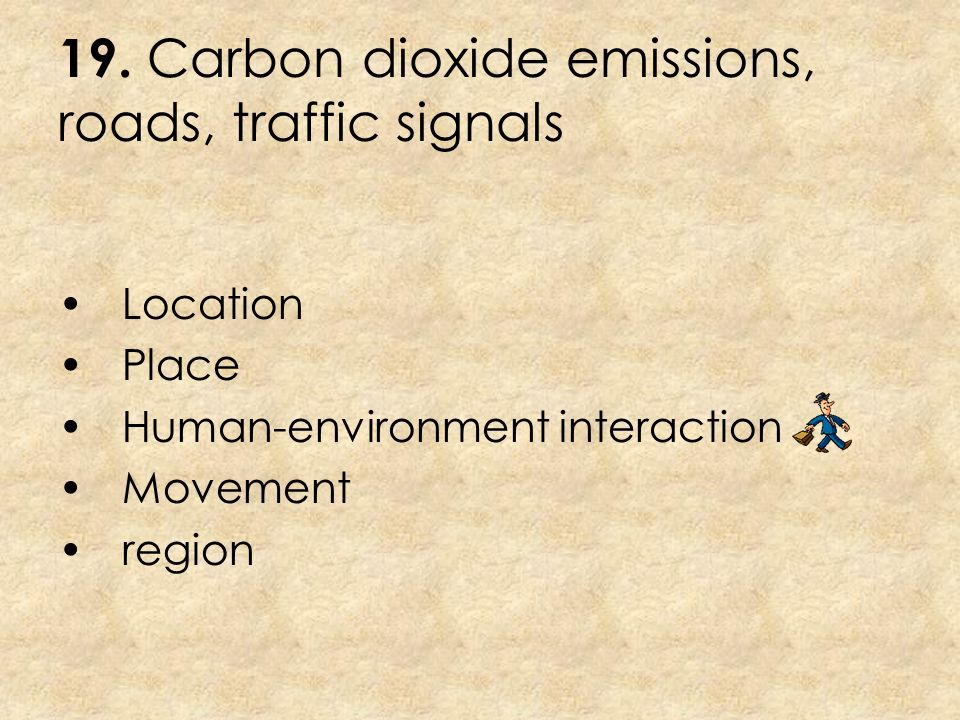 19. Carbon dioxide emissions, roads, traffic signals