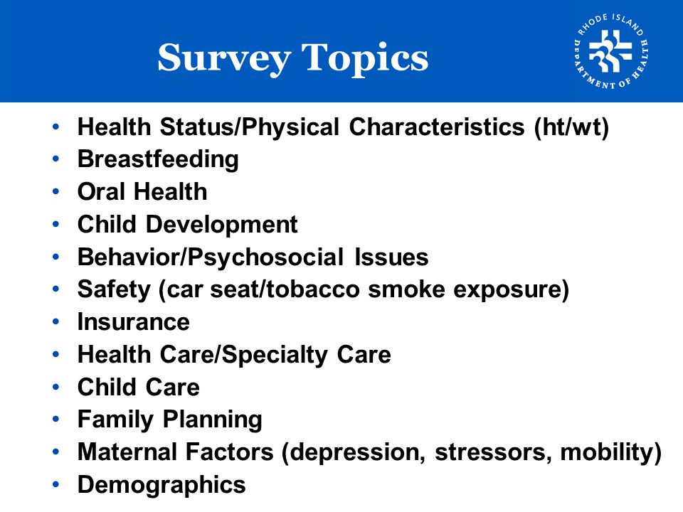 Survey Topics Health Status/Physical Characteristics (ht/wt)