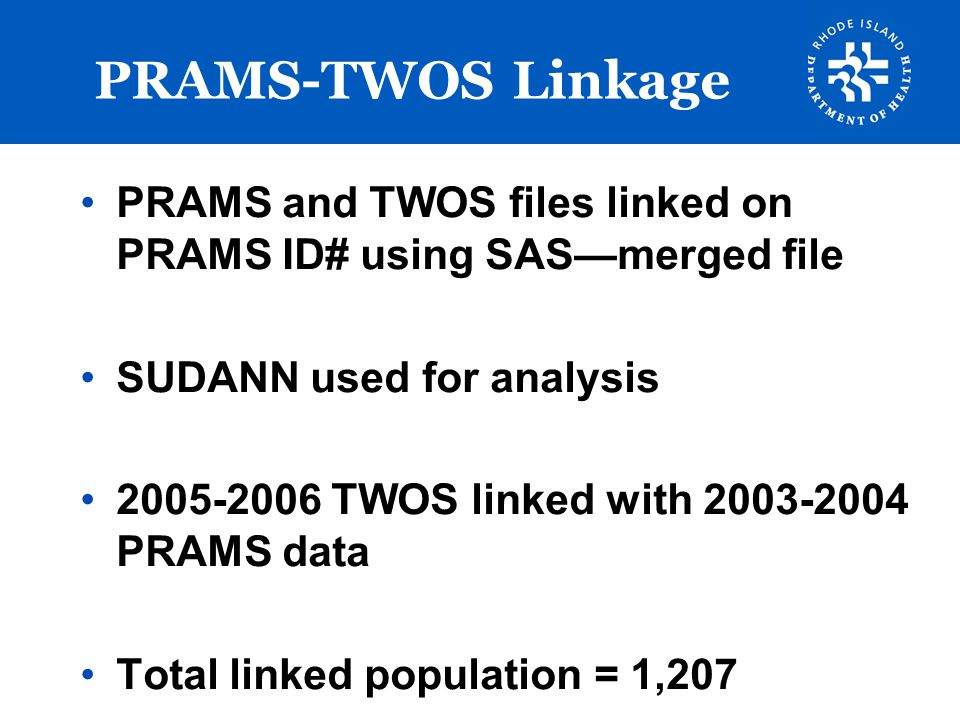 PRAMS-TWOS Linkage PRAMS and TWOS files linked on PRAMS ID# using SAS—merged file. SUDANN used for analysis.