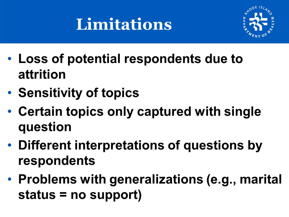 Limitations Loss of potential respondents due to attrition