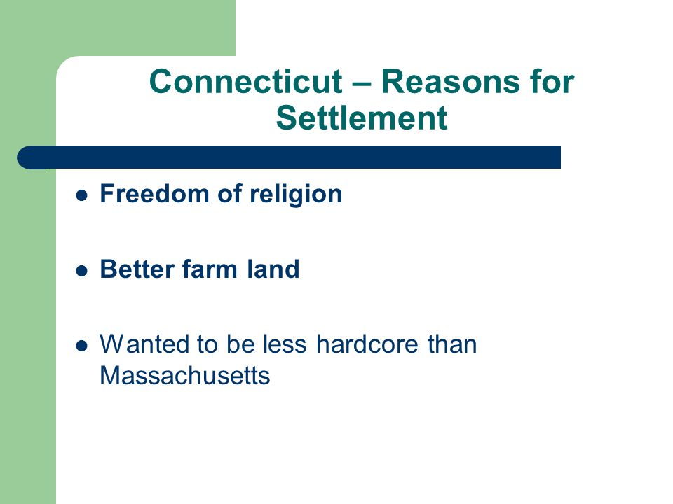 Connecticut – Reasons for Settlement