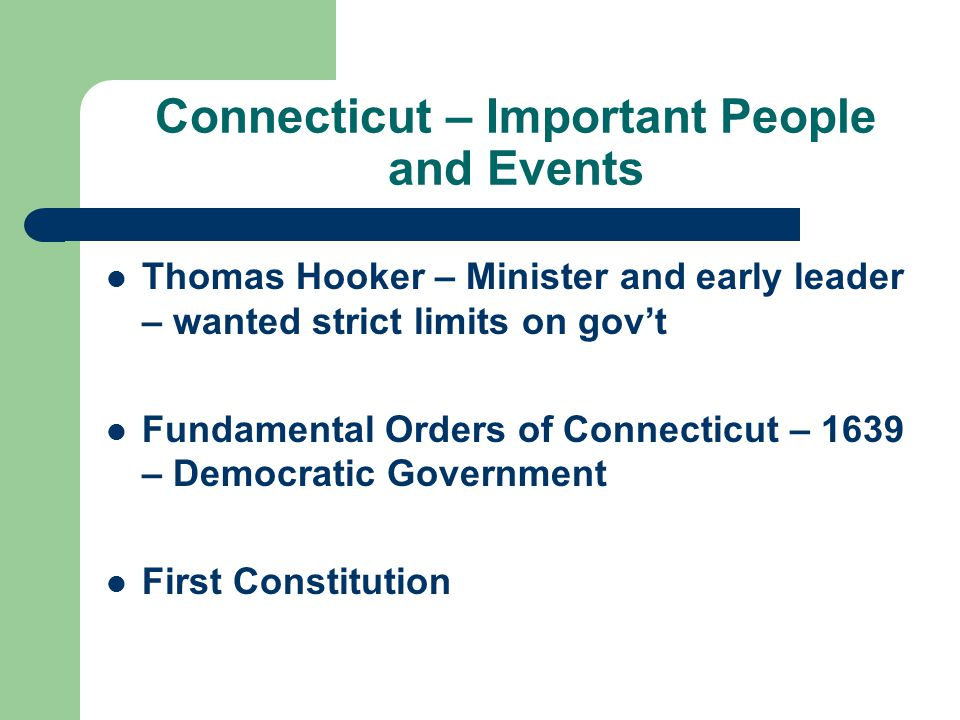 Connecticut – Important People and Events