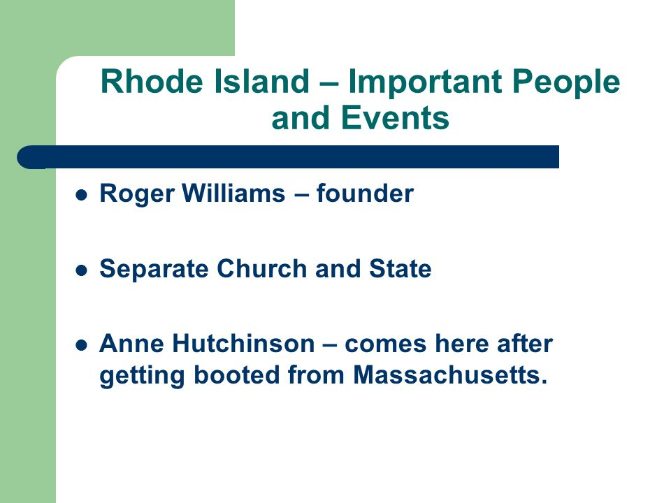 Rhode Island – Important People and Events