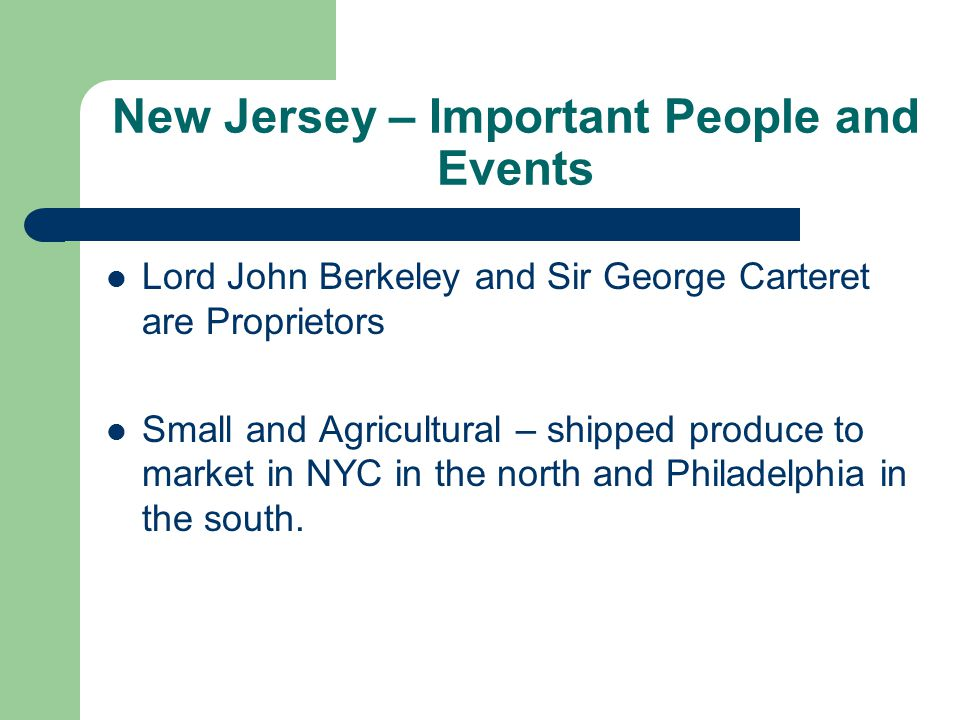 New Jersey – Important People and Events