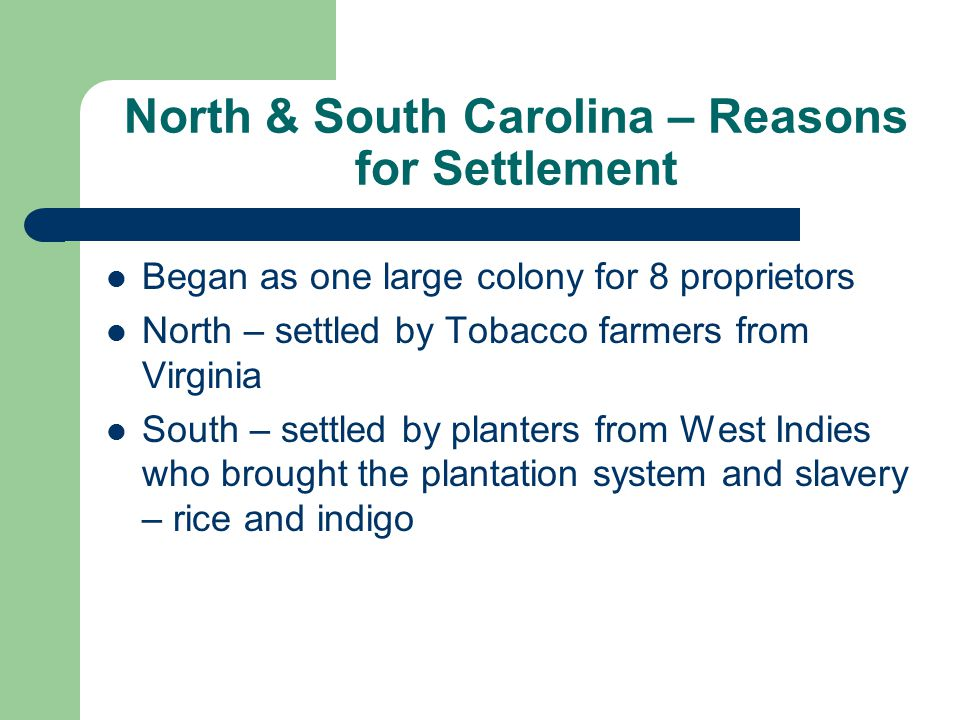 North & South Carolina – Reasons for Settlement