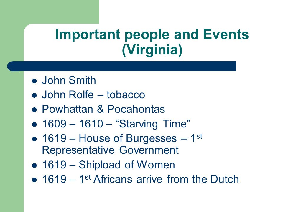 Important people and Events (Virginia)
