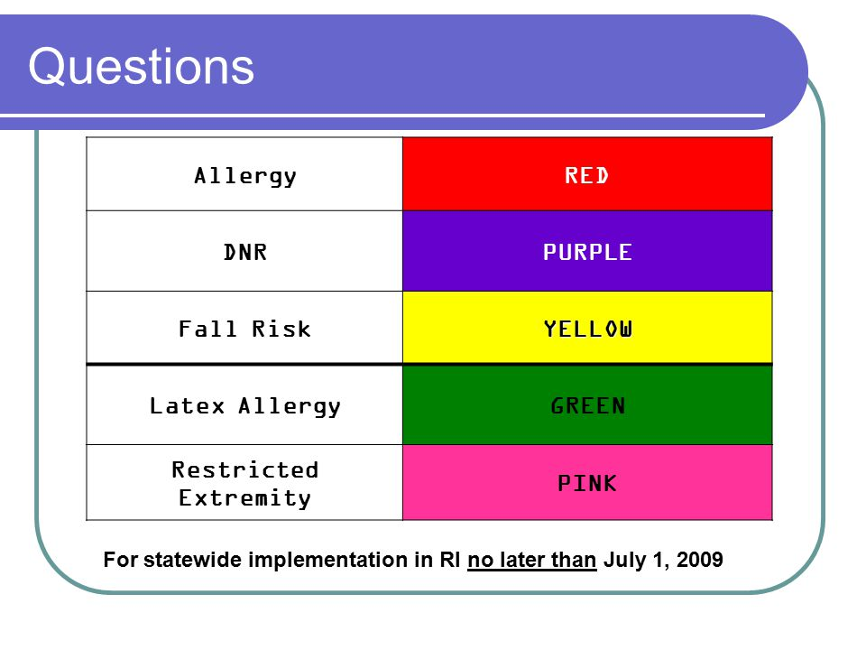 Questions Allergy RED DNR PURPLE Fall Risk YELLOW Latex Allergy GREEN