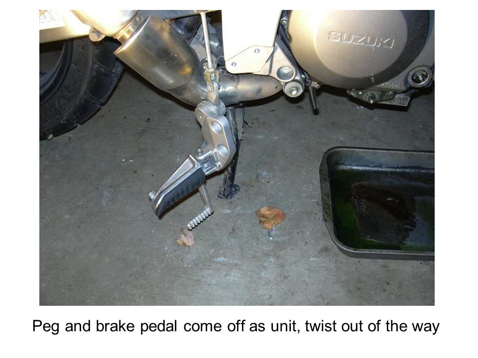 Peg and brake pedal come off as unit, twist out of the way