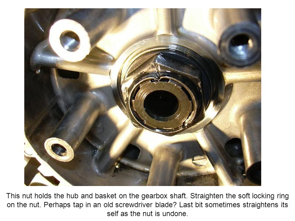 This nut holds the hub and basket on the gearbox shaft