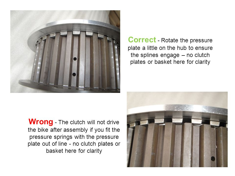 Correct - Rotate the pressure plate a little on the hub to ensure the splines engage – no clutch plates or basket here for clarity