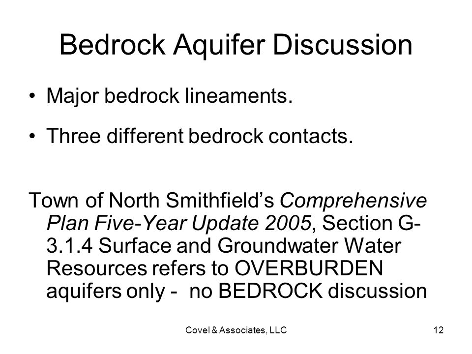 Bedrock Aquifer Discussion