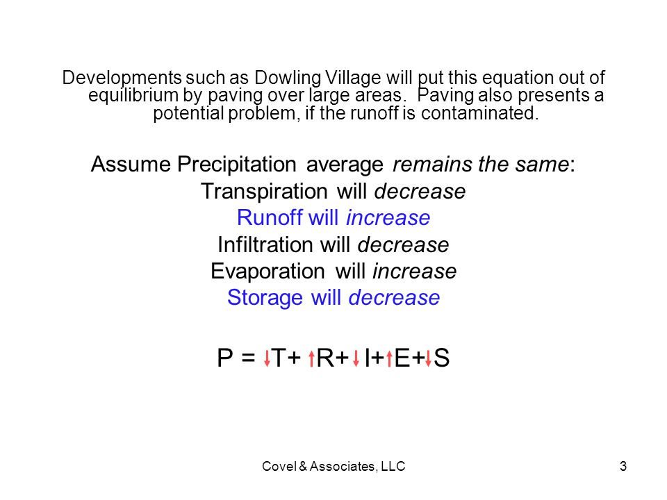 P = T+ R+ I+ E+ S Assume Precipitation average remains the same: