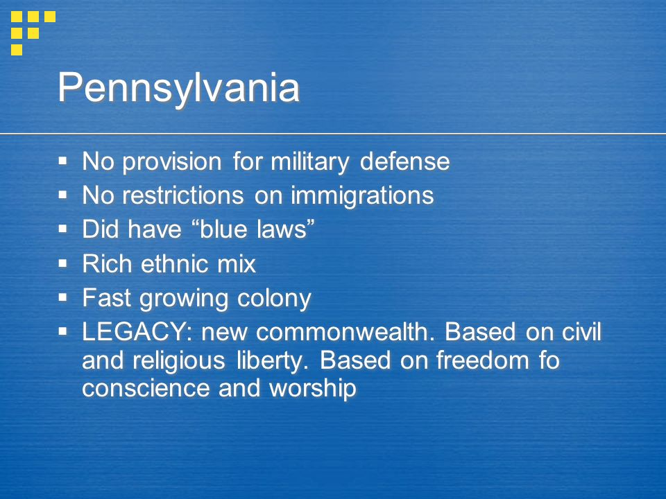 Pennsylvania No provision for military defense