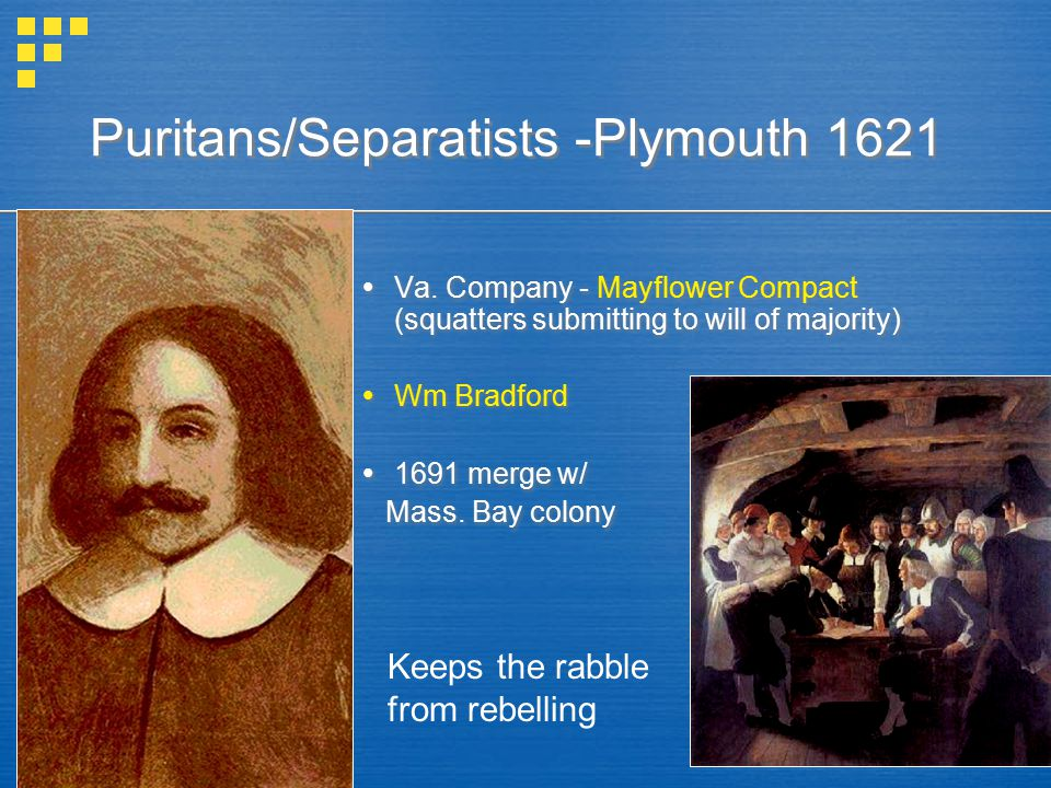 Puritans/Separatists -Plymouth 1621