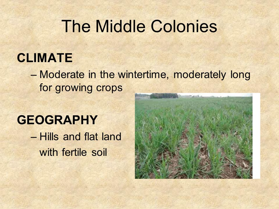 The Middle Colonies CLIMATE GEOGRAPHY
