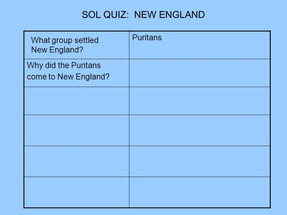 SOL QUIZ: NEW ENGLAND Puritans Why did the Puritans
