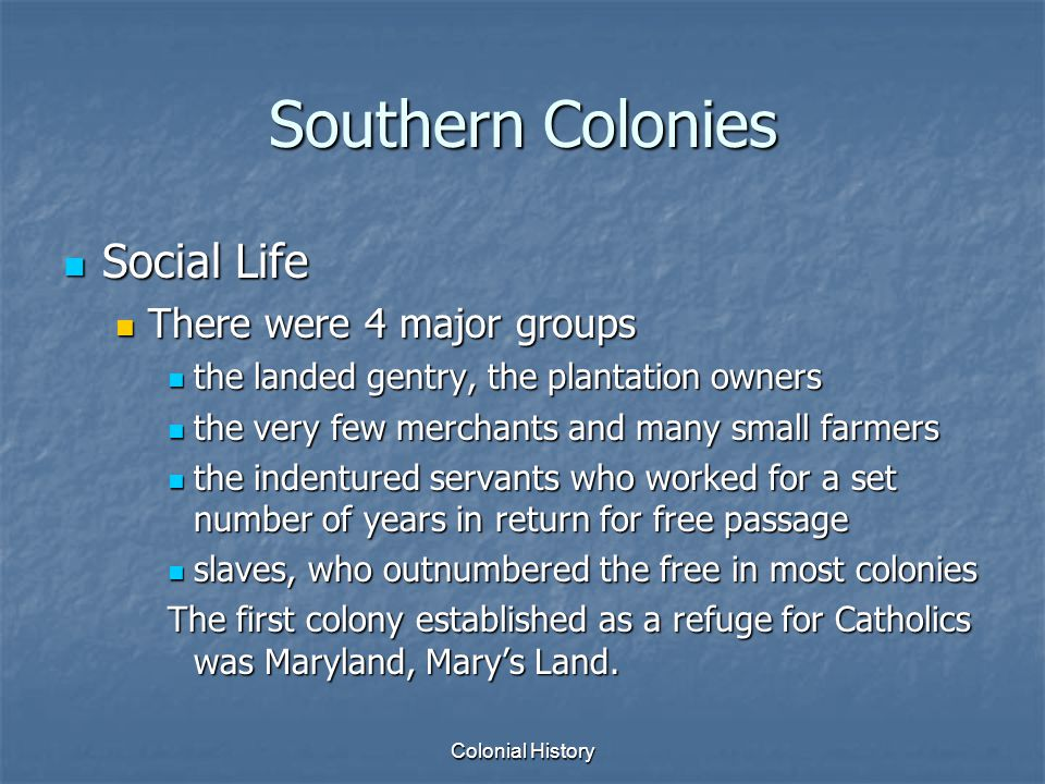 Southern Colonies Social Life There were 4 major groups