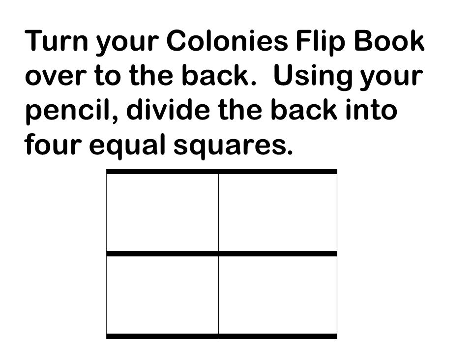 Turn your Colonies Flip Book over to the back