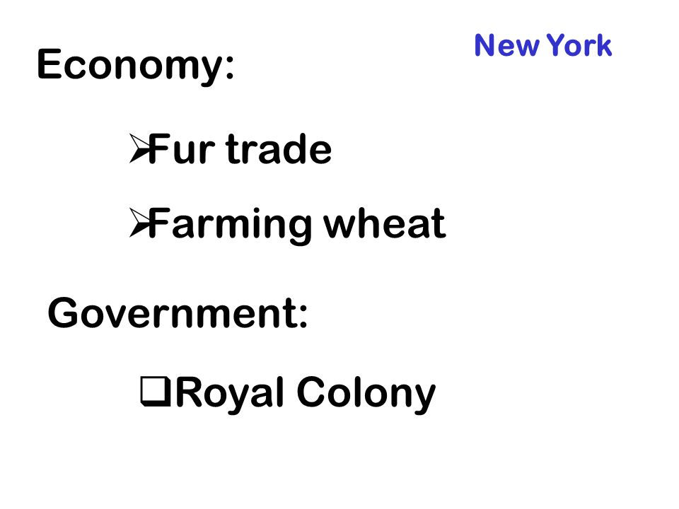 New York Economy: Fur trade Farming wheat Government: Royal Colony