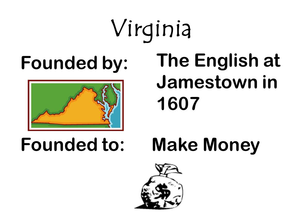 Virginia The English at Jamestown in 1607 Founded by: Founded to: