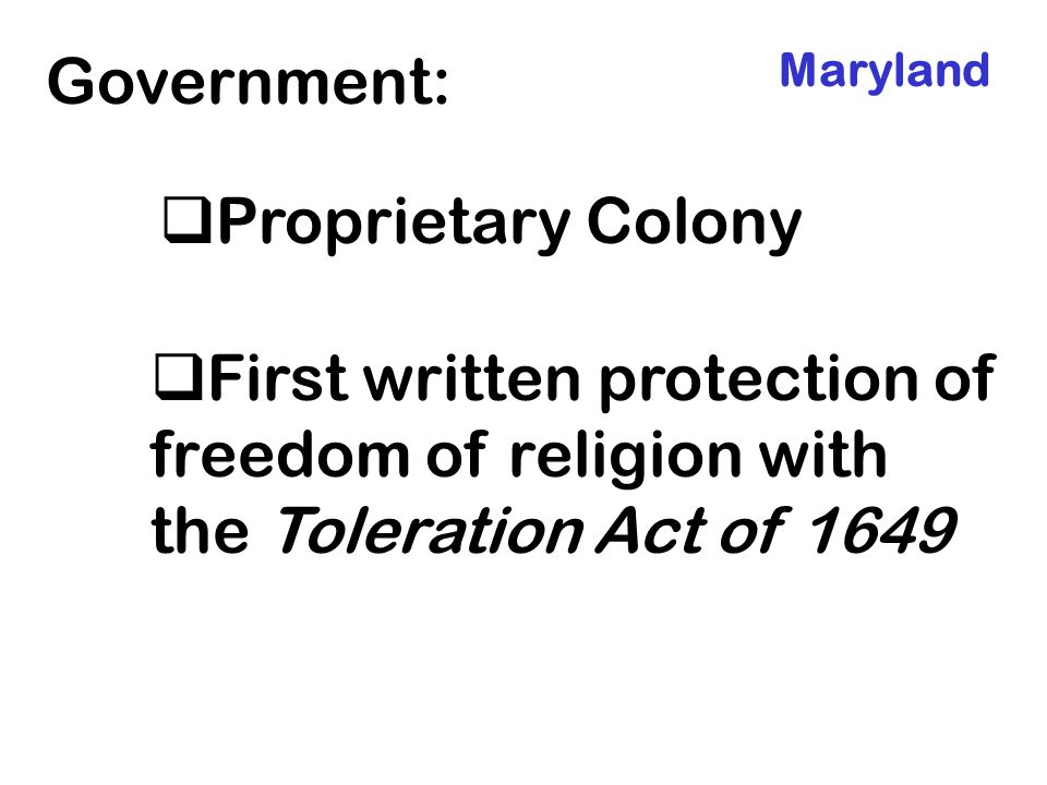 Government: Proprietary Colony
