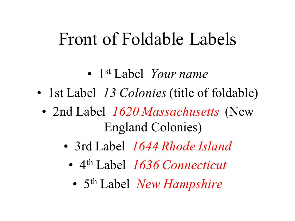 Front of Foldable Labels