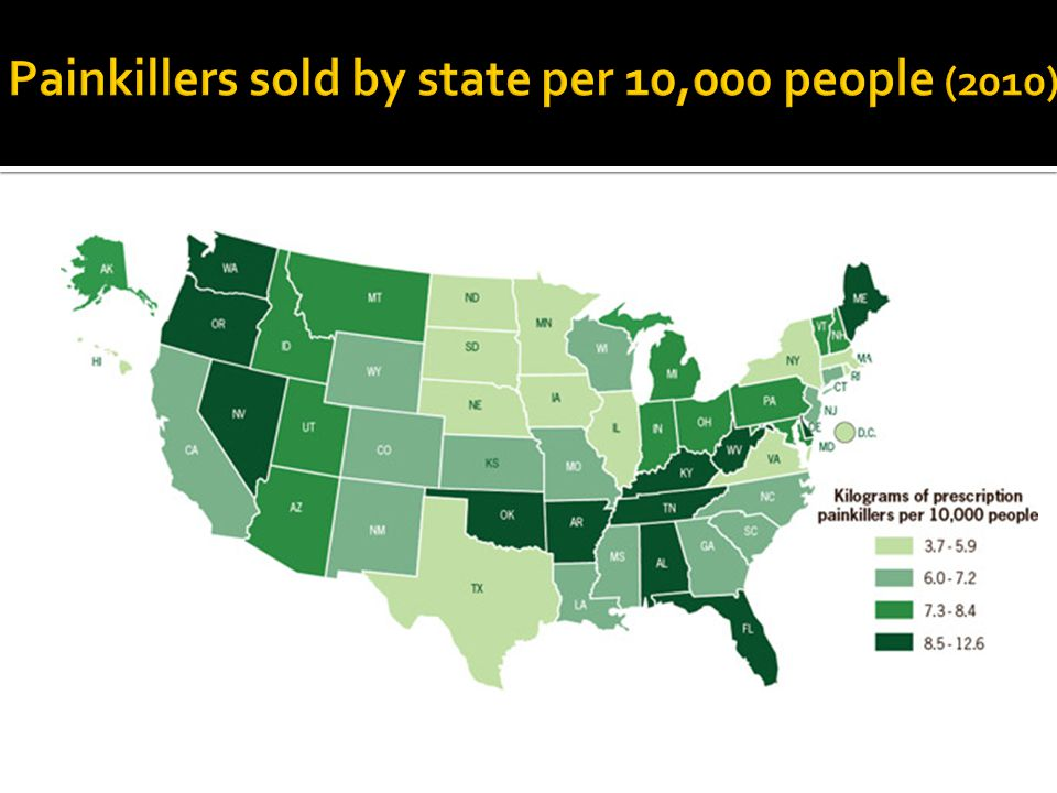 Painkillers sold by state per 10,000 people (2010)