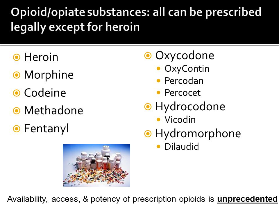 Opioid/opiate substances: all can be prescribed legally except for heroin