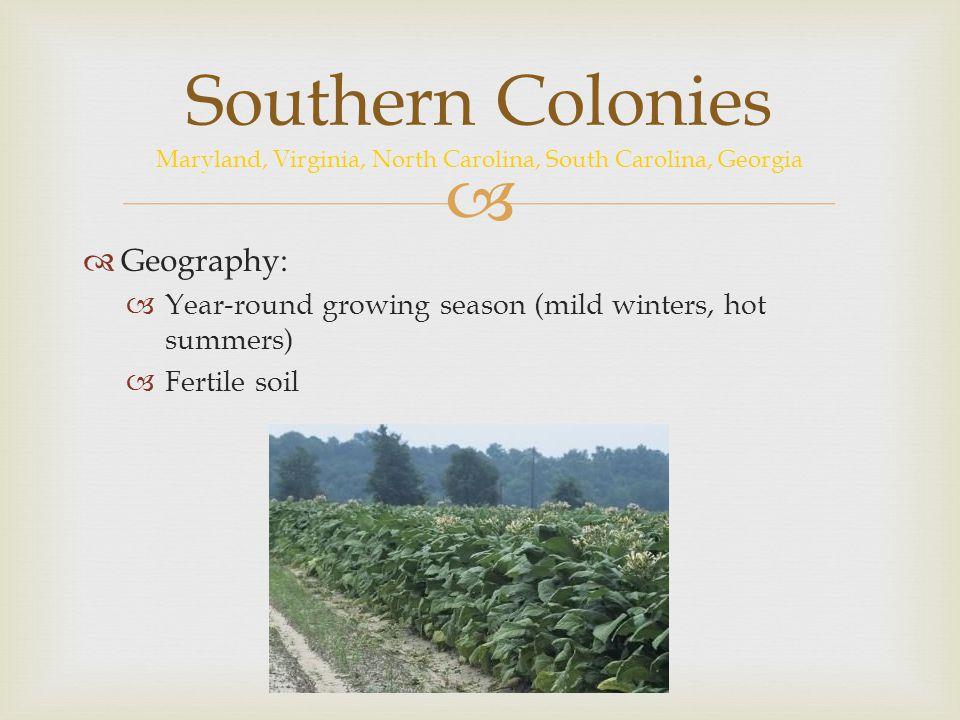 Southern Colonies Maryland, Virginia, North Carolina, South Carolina, Georgia