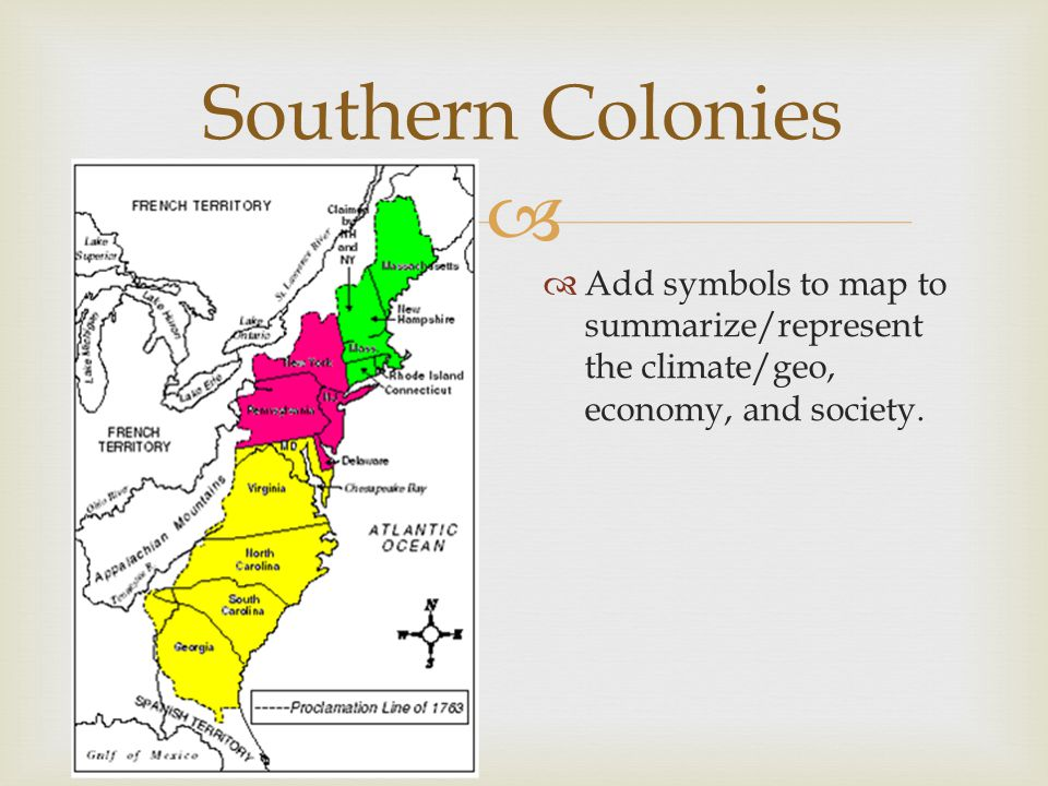 Southern Colonies Add symbols to map to summarize/represent the climate/geo, economy, and society.