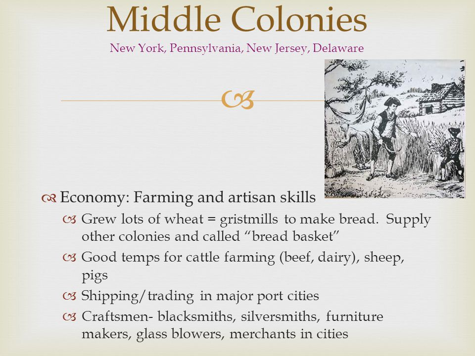 Middle Colonies New York, Pennsylvania, New Jersey, Delaware