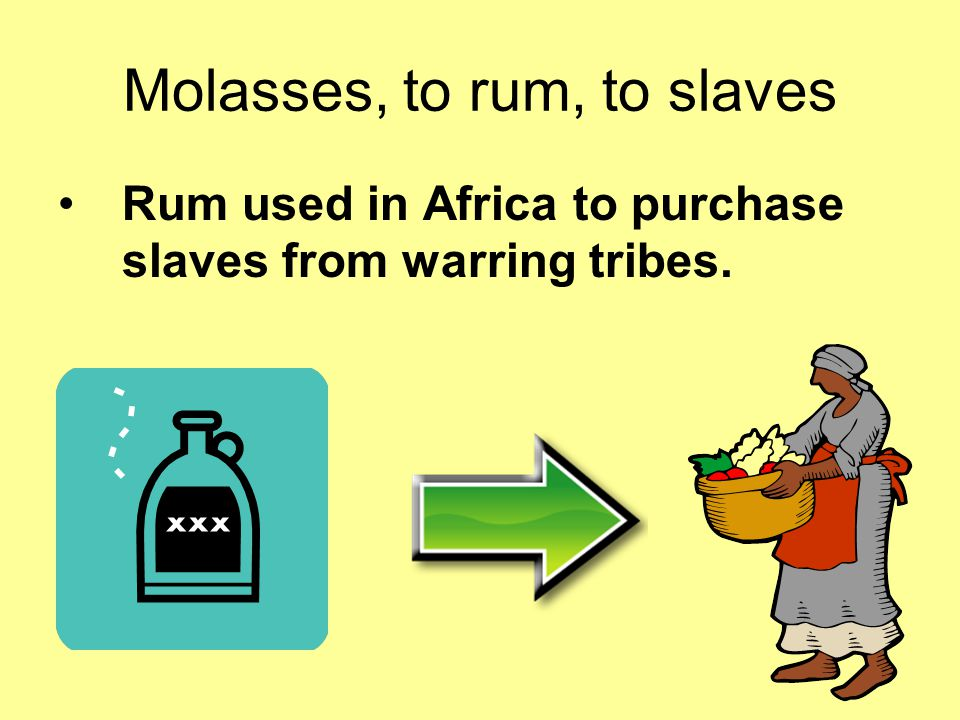 Molasses, to rum, to slaves