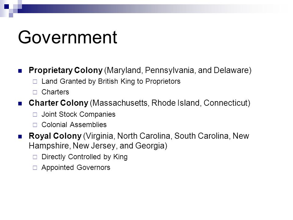 Government Proprietary Colony (Maryland, Pennsylvania, and Delaware)