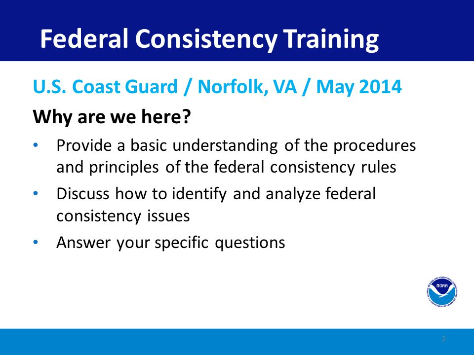 Federal Consistency Training