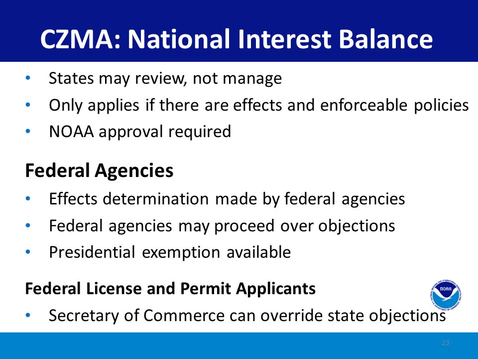 CZMA: National Interest Balance