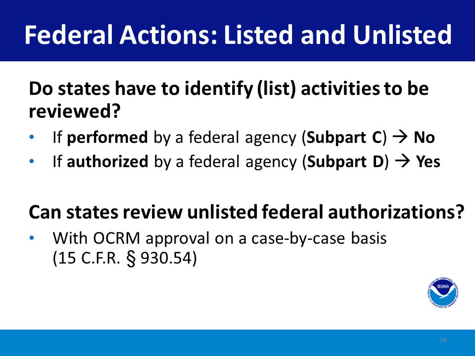 Federal Actions: Listed and Unlisted