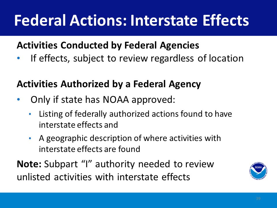 Federal Actions: Interstate Effects