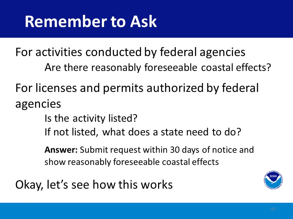 Remember to Ask For activities conducted by federal agencies