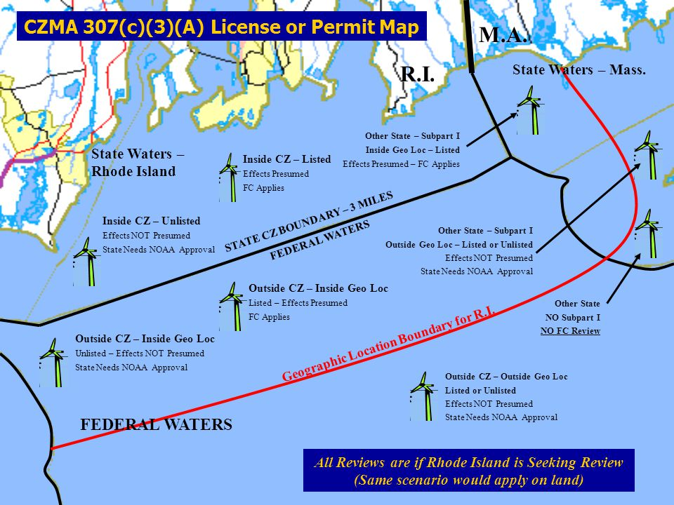 M.A. R.I. CZMA 307(c)(3)(A) License or Permit Map FEDERAL WATERS