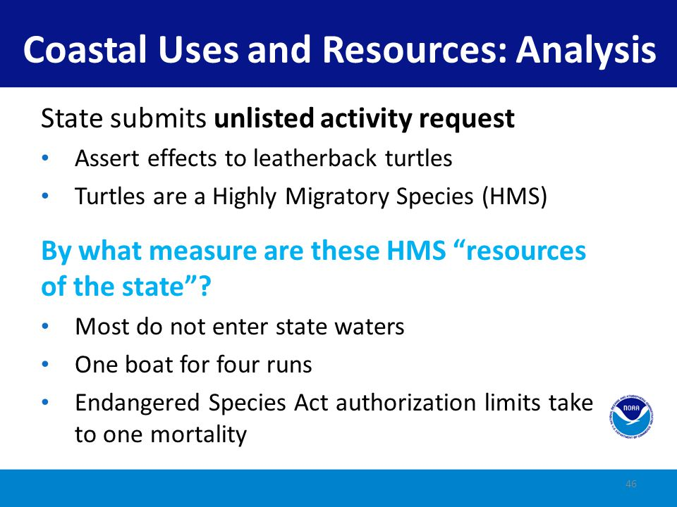 Coastal Uses and Resources: Analysis