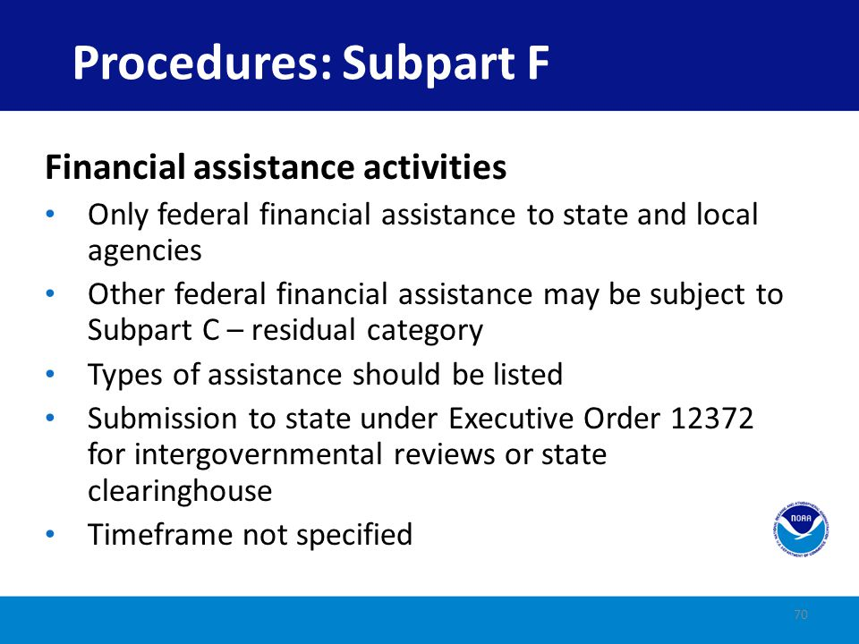 Procedures: Subpart F Financial assistance activities