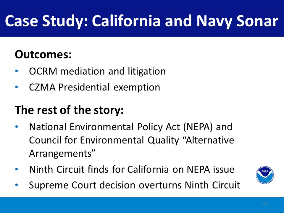 Case Study: California and Navy Sonar