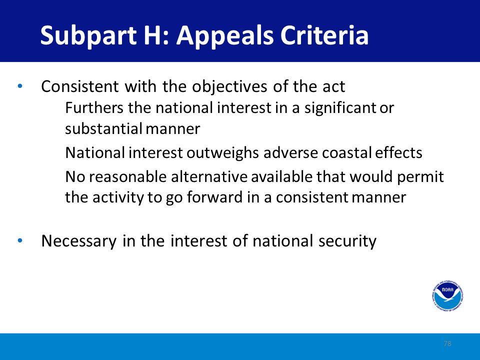 Subpart H: Appeals Criteria