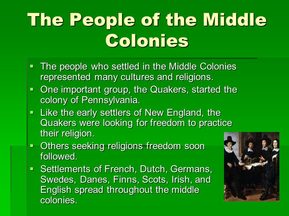 The People of the Middle Colonies