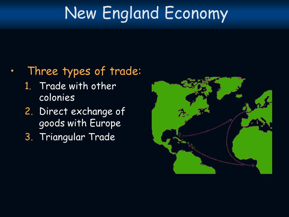 New England Economy Three types of trade: Trade with other colonies