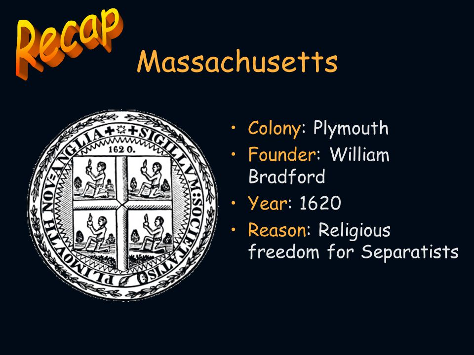 Massachusetts Recap Colony: Plymouth Founder: William Bradford