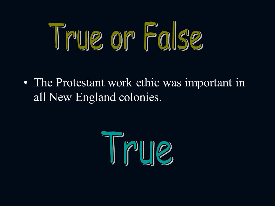 True or False The Protestant work ethic was important in all New England colonies. True