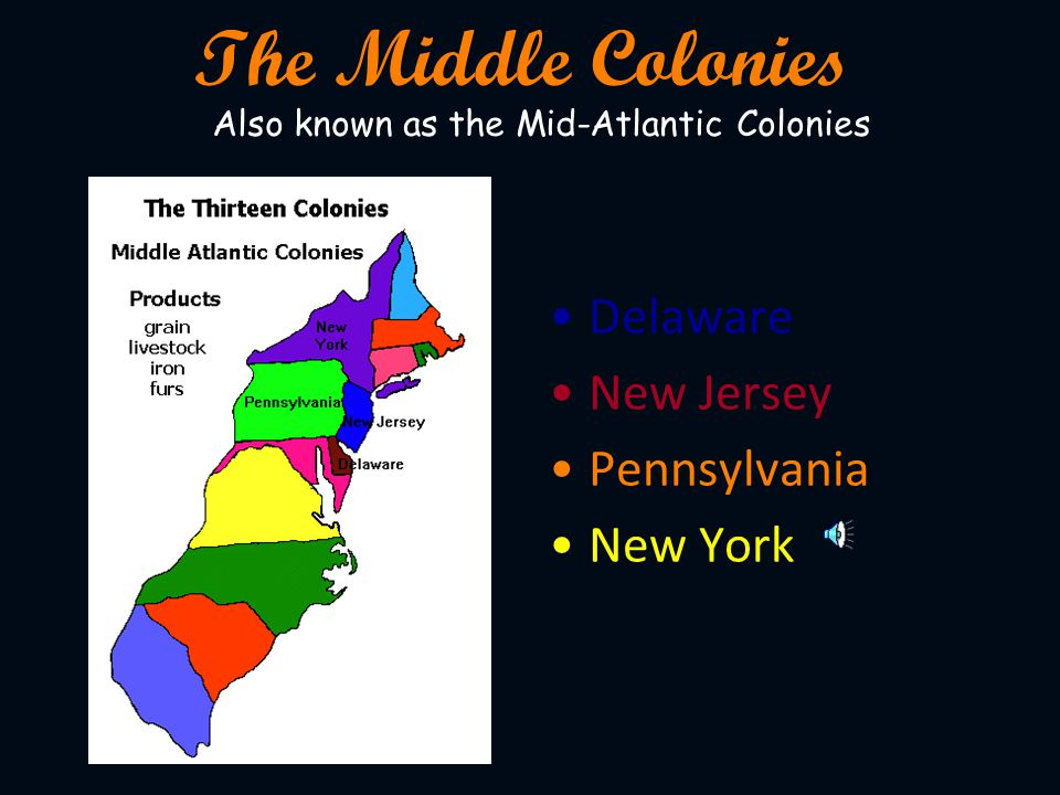 The Middle Colonies Delaware New Jersey Pennsylvania New York
